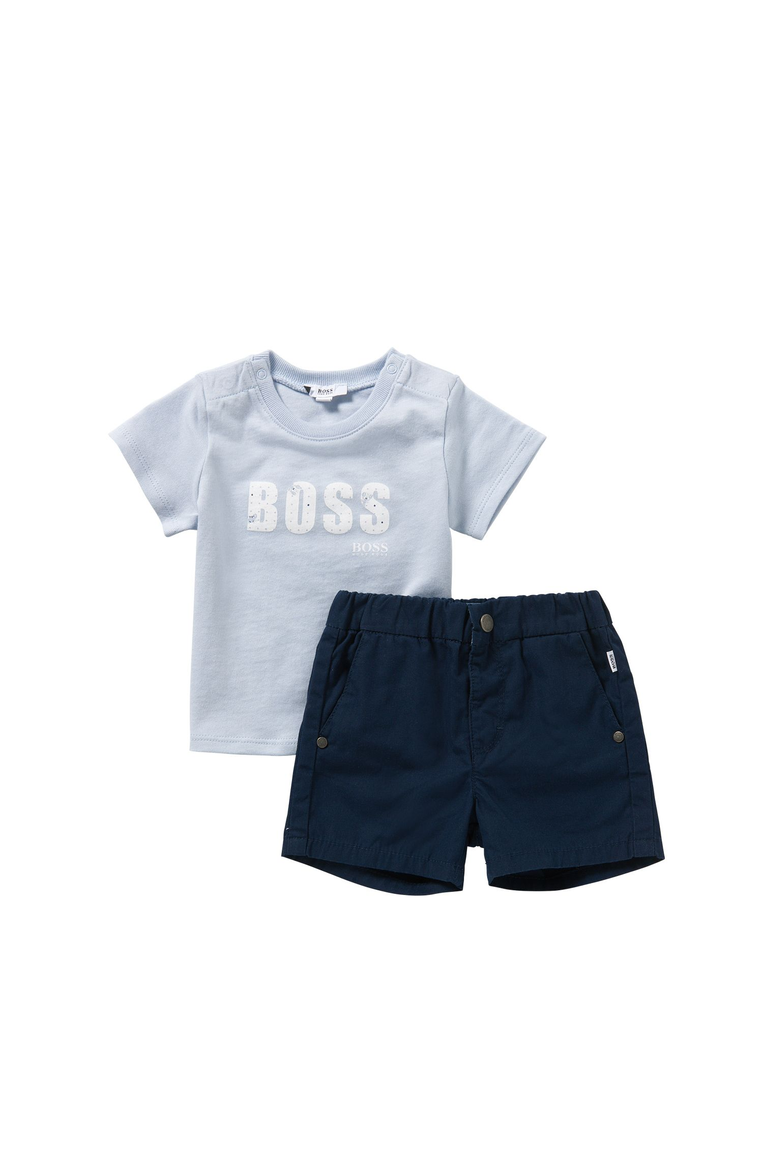 Newborns' set with a t-shirt and shorts in cotton: 'J98155'