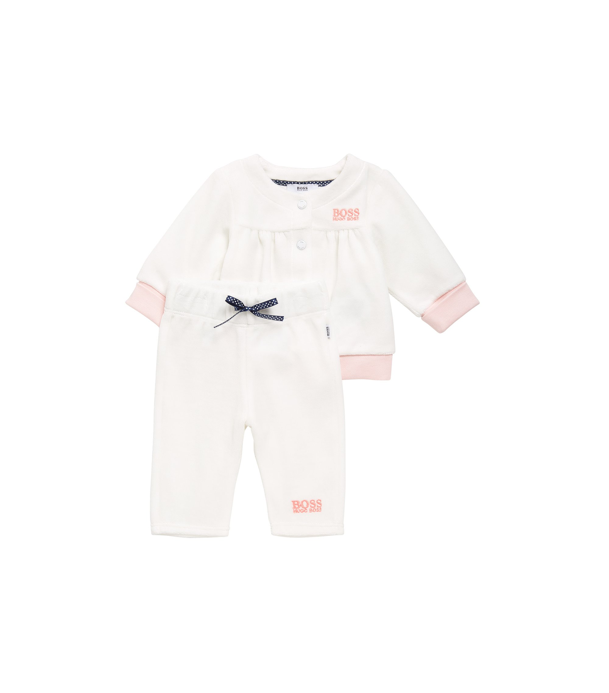 Newborn jacket and trousers in cotton blend: 'J97107', Natural