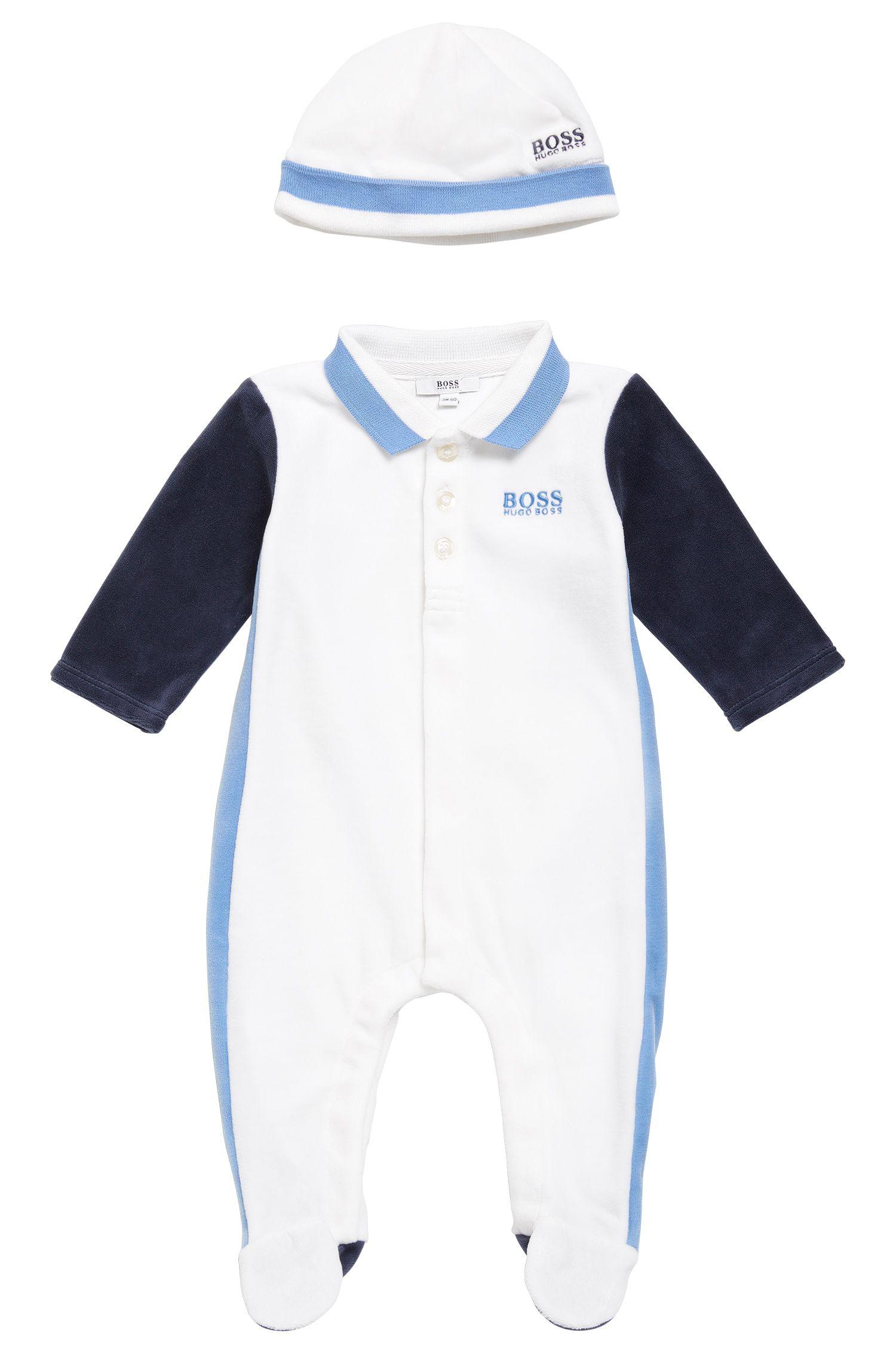 Ensemble pour bébé composé d'une grenouillère et d'un bonnet: «J98162»