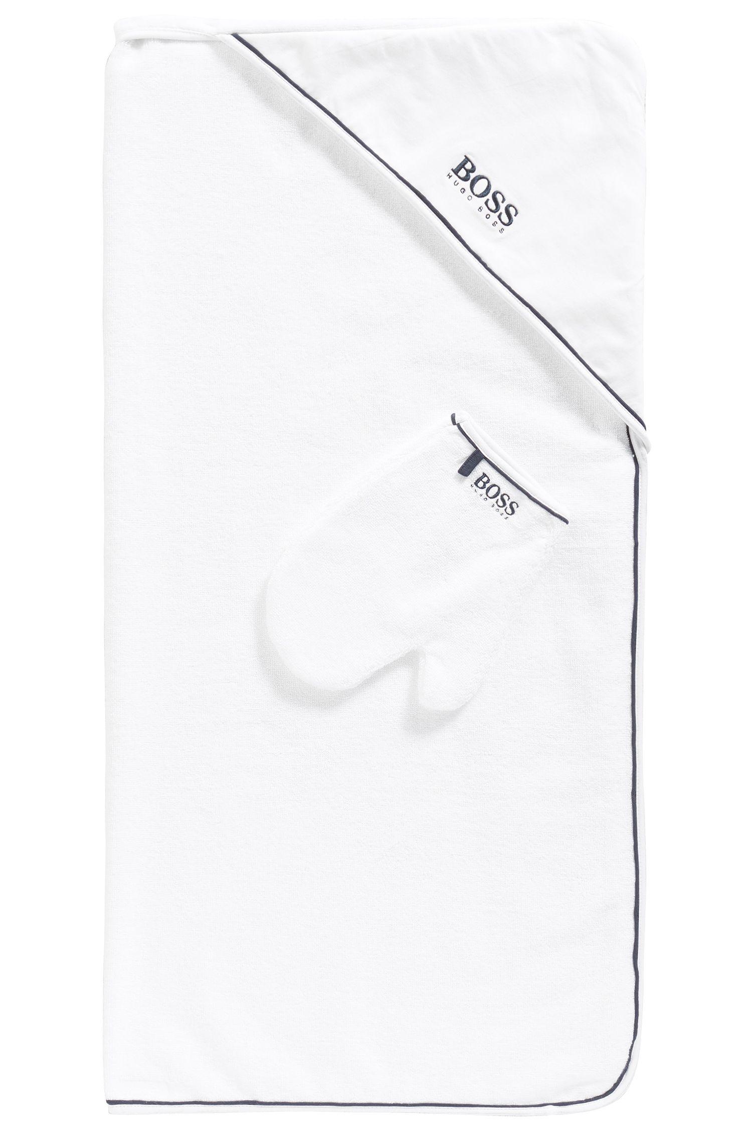 Newborn's bath towel and washing mitten in cotton: 'J98167'