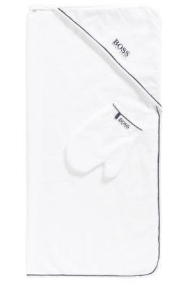 Baby-Badetuch und Waschhandschuh aus Baumwolle: 'J98167', Weiß