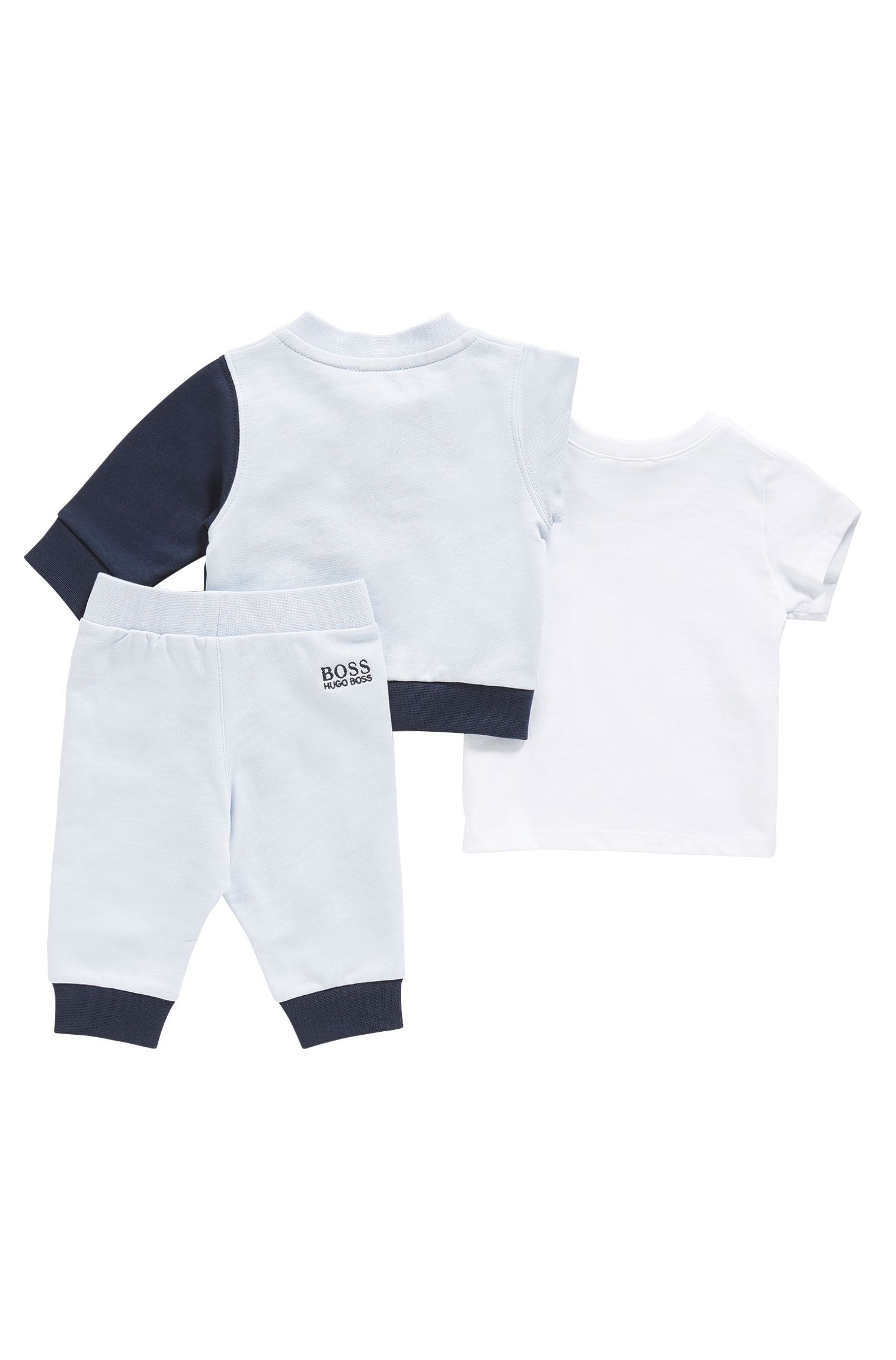 Baby set consisting of a sweatshirt jacket, tracksuit bottoms and a cotton t-shirt: 'J98171'