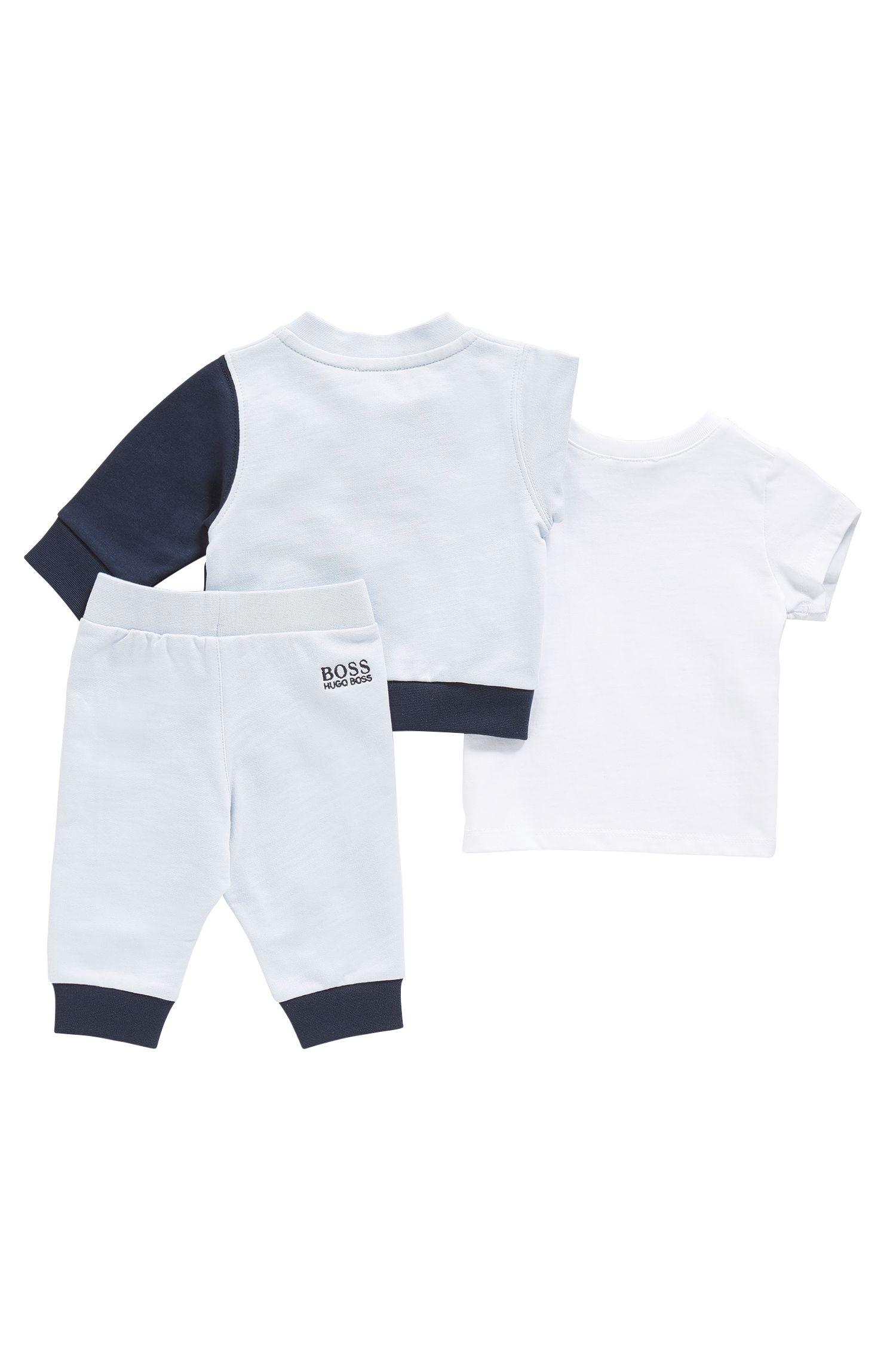 Set da neonato composto da giubbino e pantaloni in felpa e T-shirt in cotone: 'J98171'