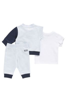 Baby set consisting of a sweatshirt jacket, tracksuit bottoms and a cotton t-shirt: 'J98171', Light Blue
