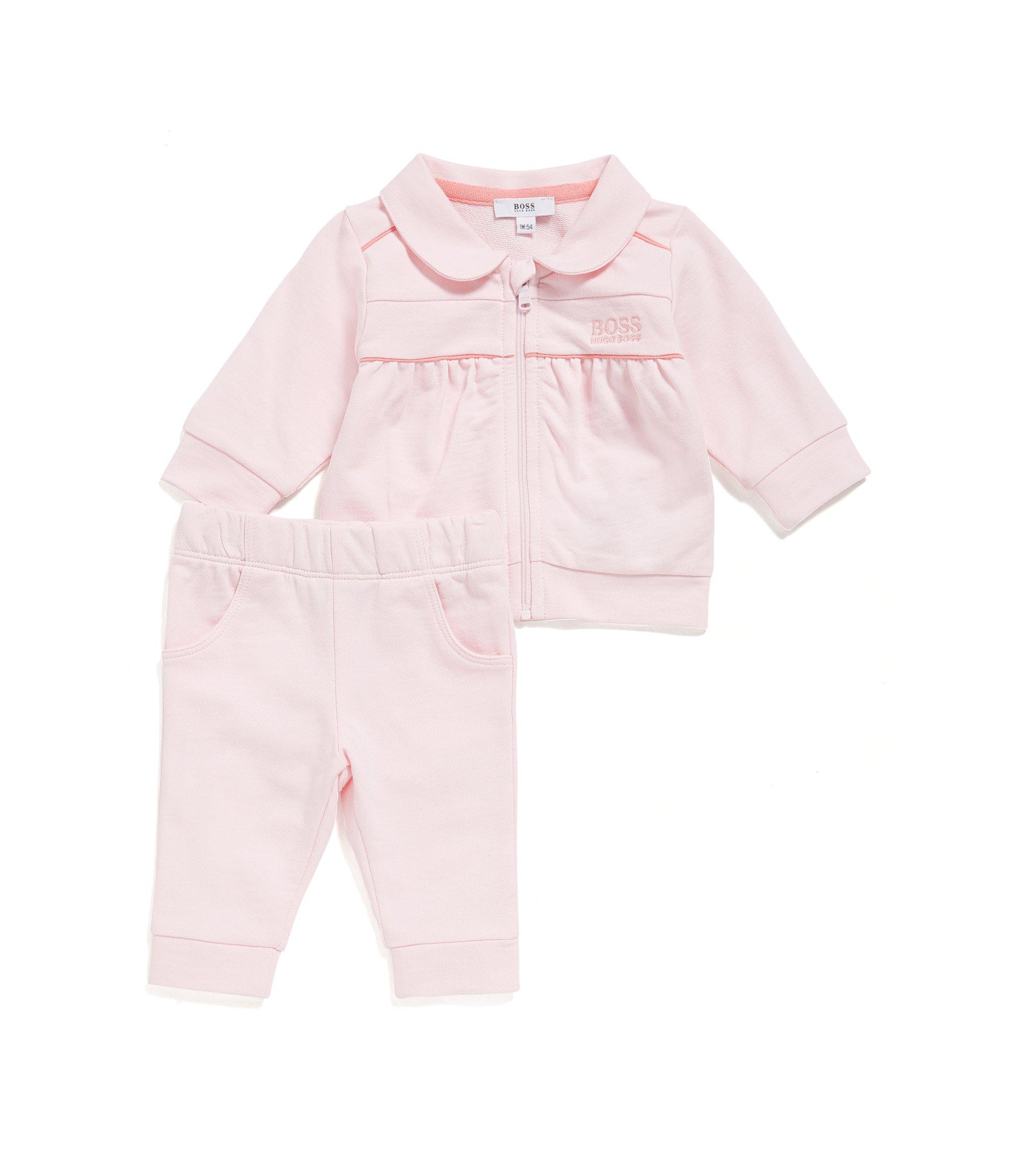 Giacca e pantaloni felpati in cotone da neonato: 'J98178', Rosa chiaro