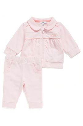 Baby sweatshirt jacket and tracksuit bottoms in cotton: 'J98178', light pink
