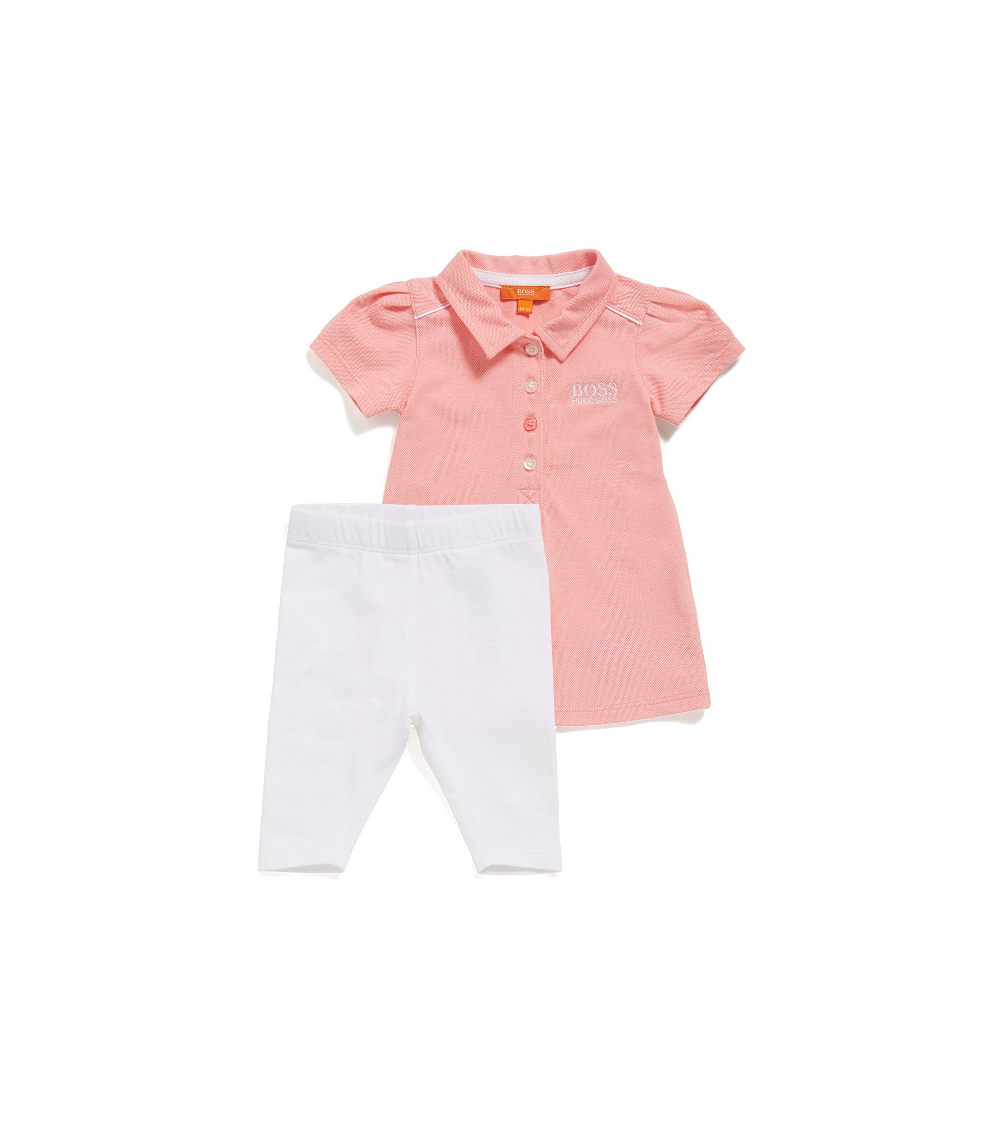 Newborn polo shirt and leggings in stretch cotton: 'J98179', light pink