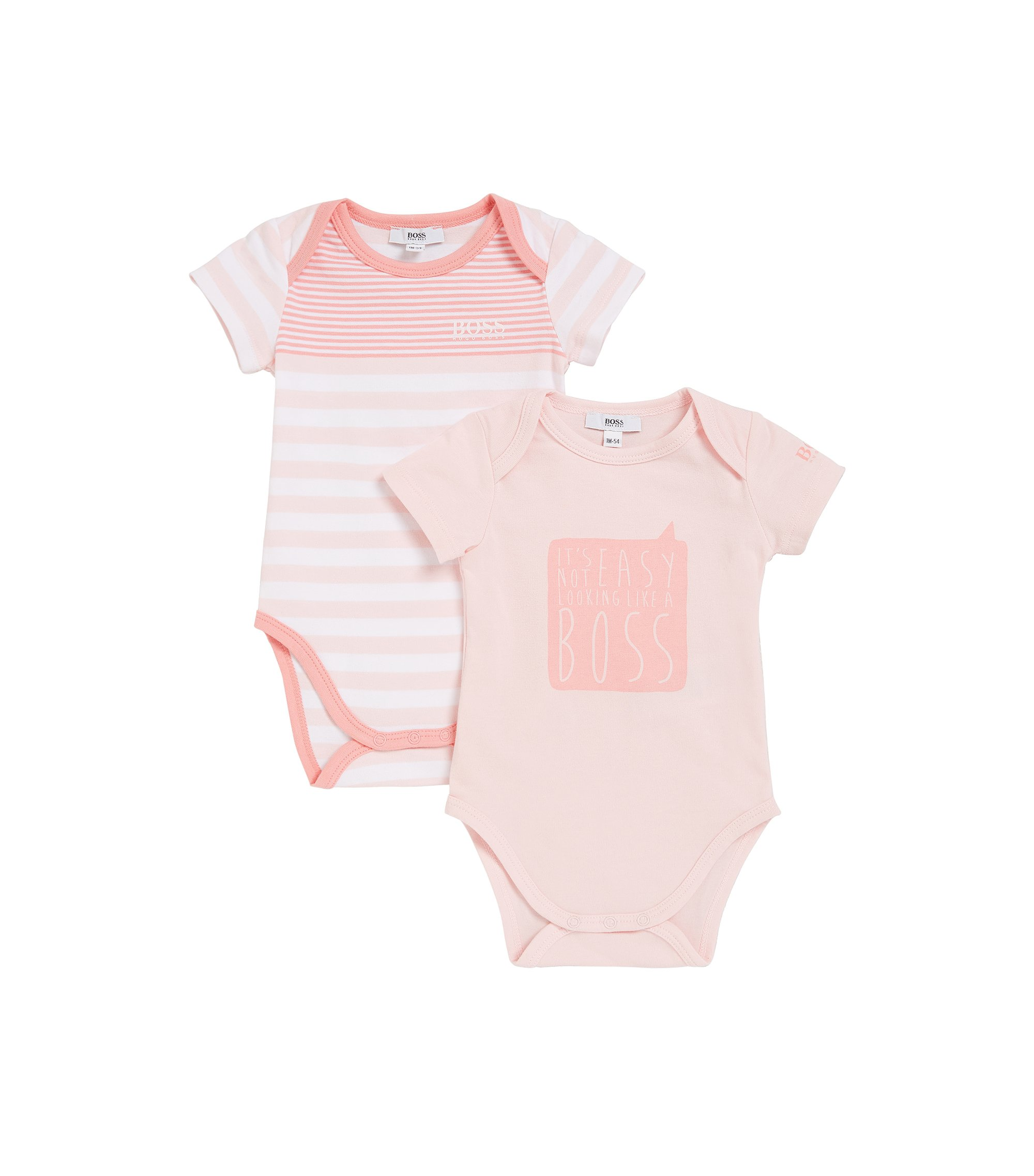 Baby two-pack of single-jersey bodysuits, light pink