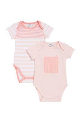 Set van twee babykruippakjes van single jersey, Lichtroze
