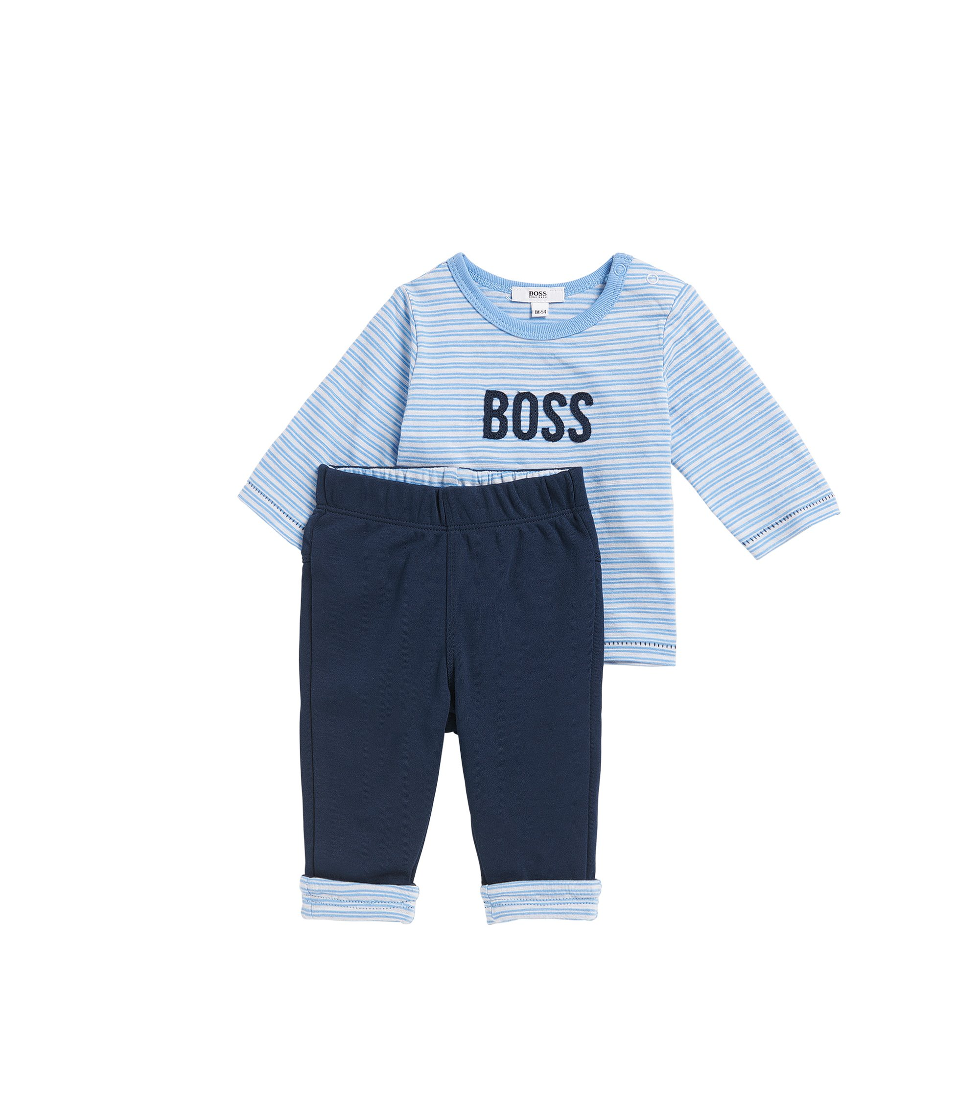 Baby T-shirt and trouser set in cotton, Light Blue