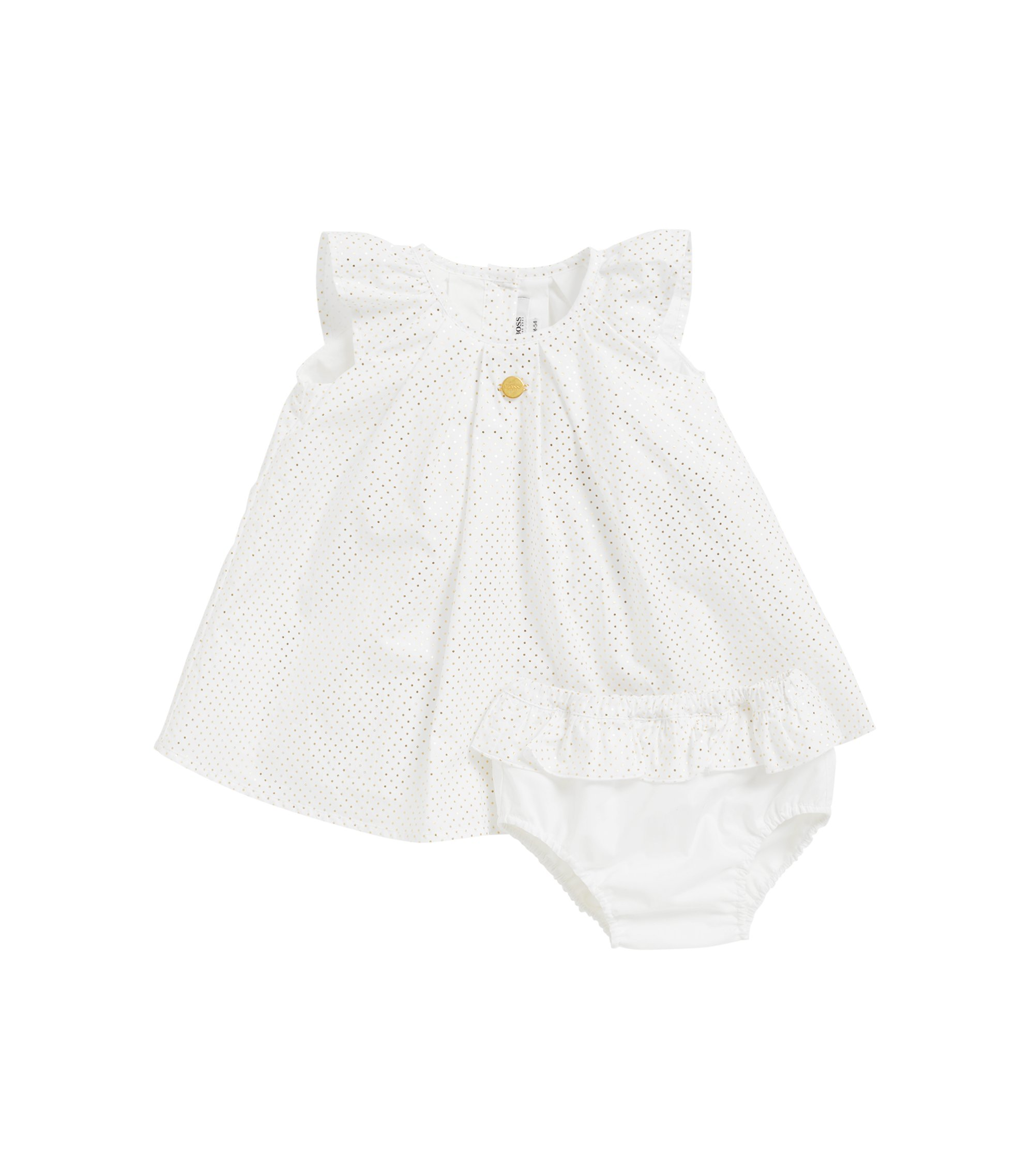 Baby dress and bloomers in cotton percale, White