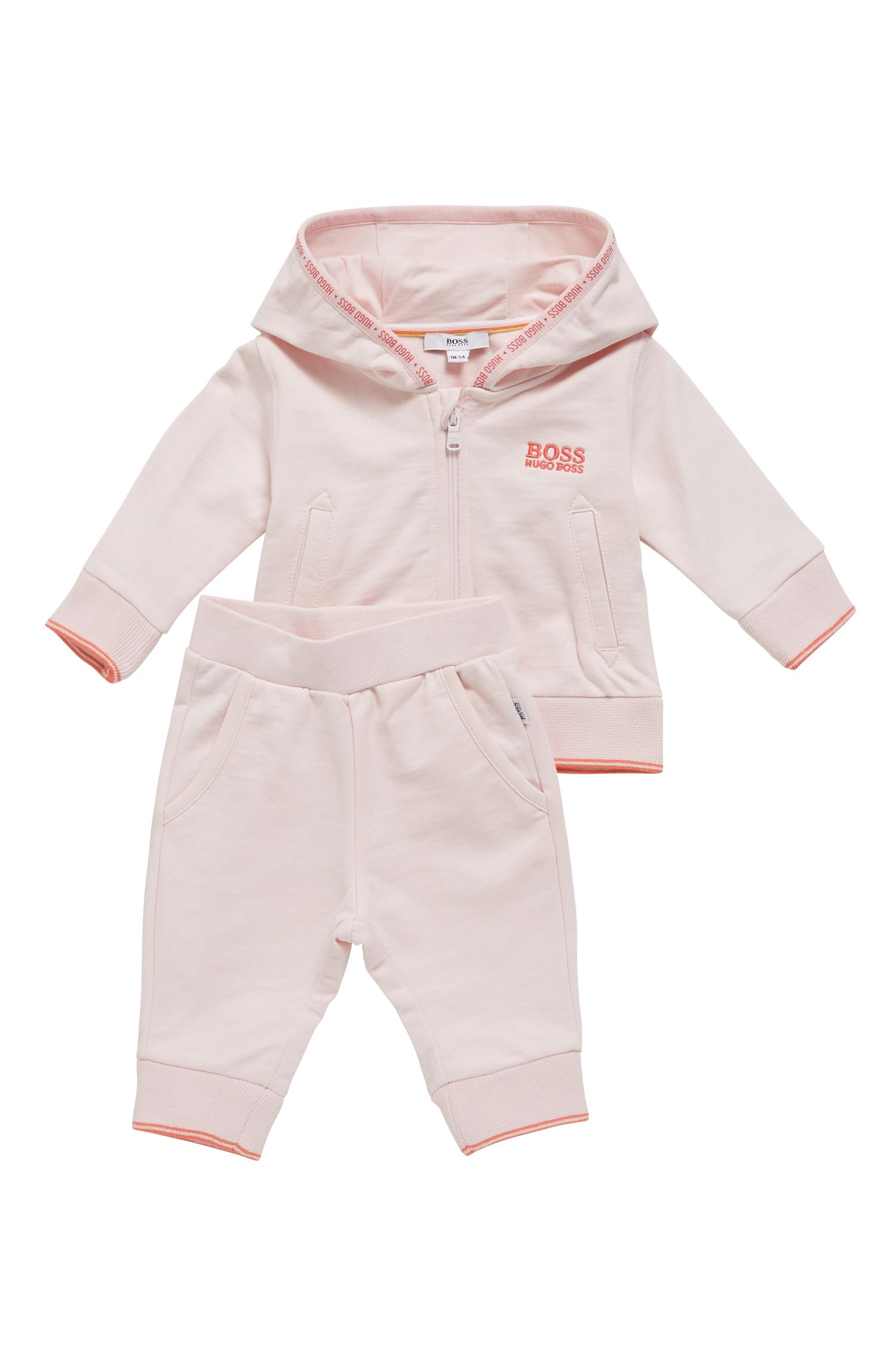Baby girl two-piece tracksuit in cotton fleece, light pink
