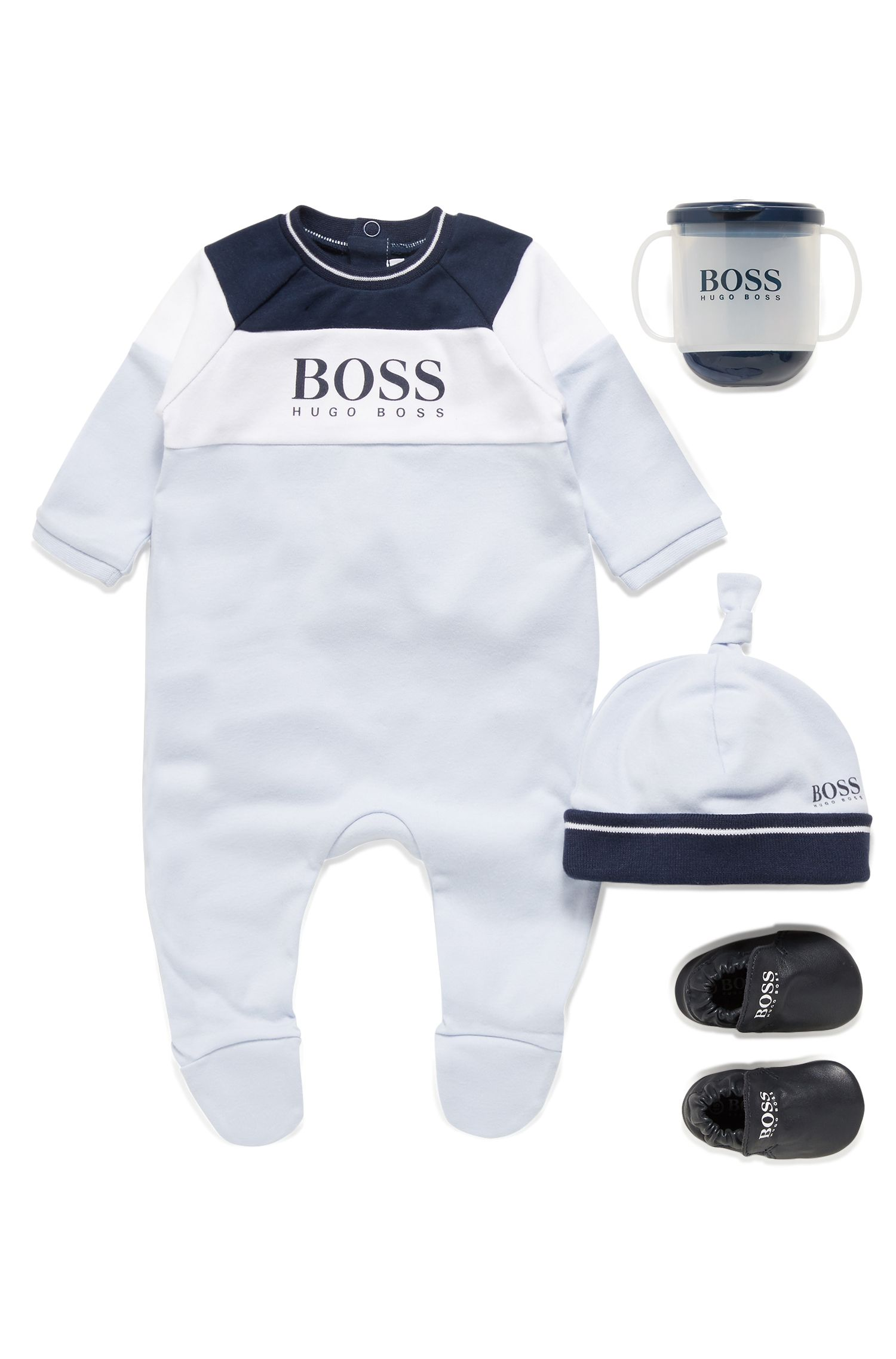 Baby sleepsuit and hat gift set with logo print