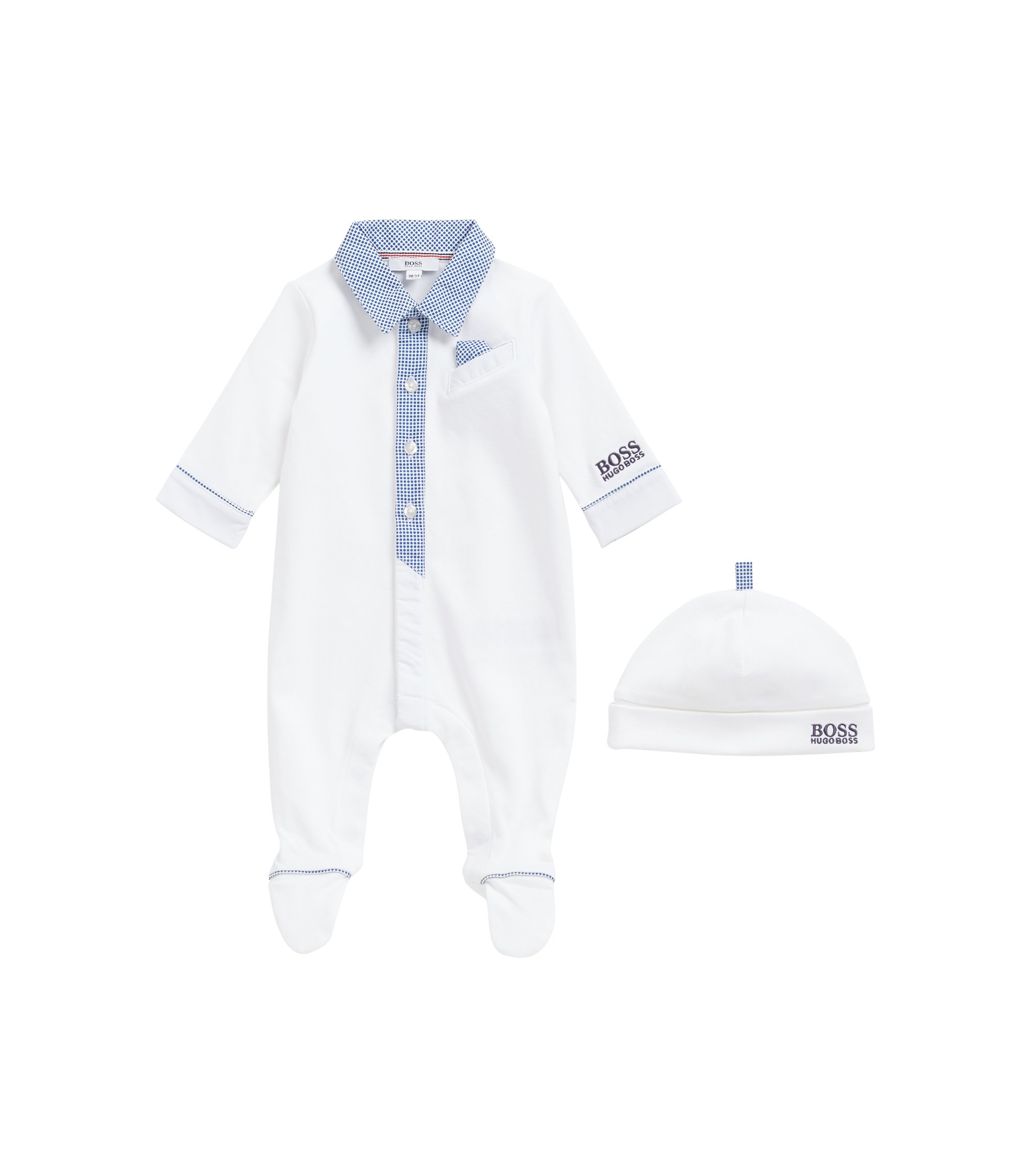 Baby boy sleepsuit and hat gift set in interlock cotton, White