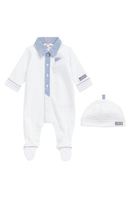 7dc709682376 BOSS - Baby boy sleepsuit and hat gift set in interlock cotton