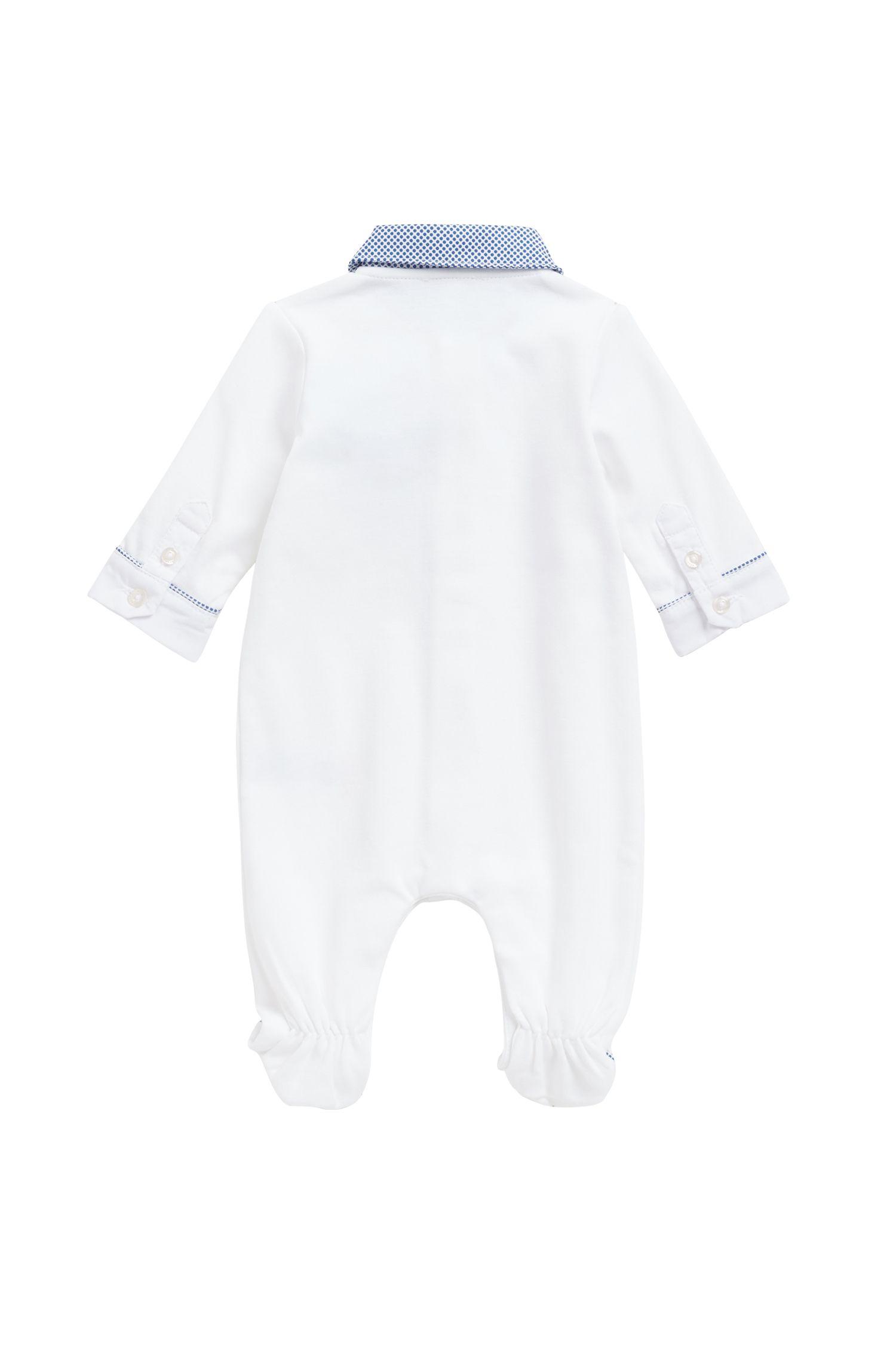 Baby-Geschenk-Set aus Pyjama und Mütze aus Interlock-Baumwolle, Weiß