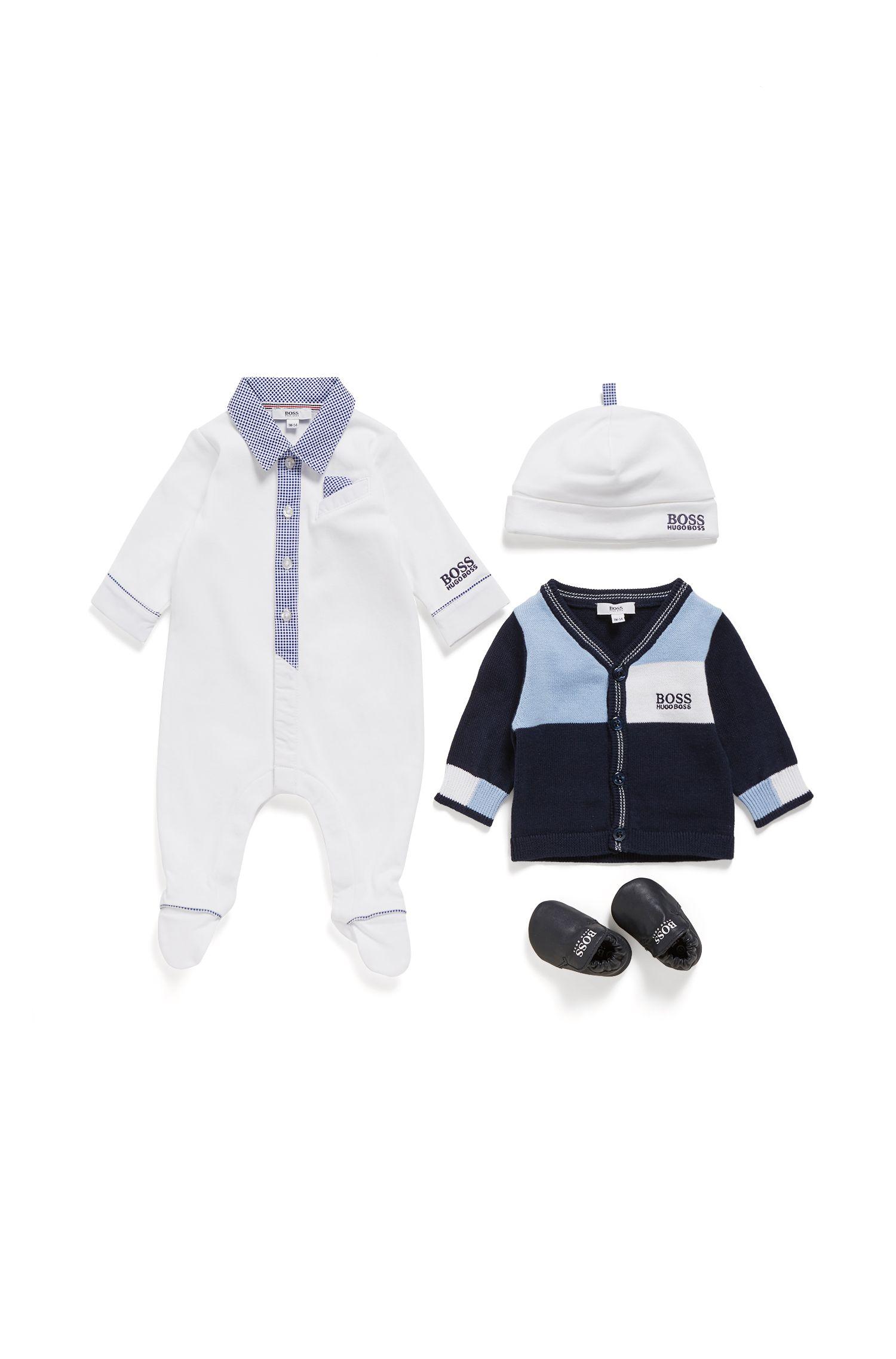 Babyset voor een jongetje, met slaappakje en mutsje van interlocked katoen, Wit