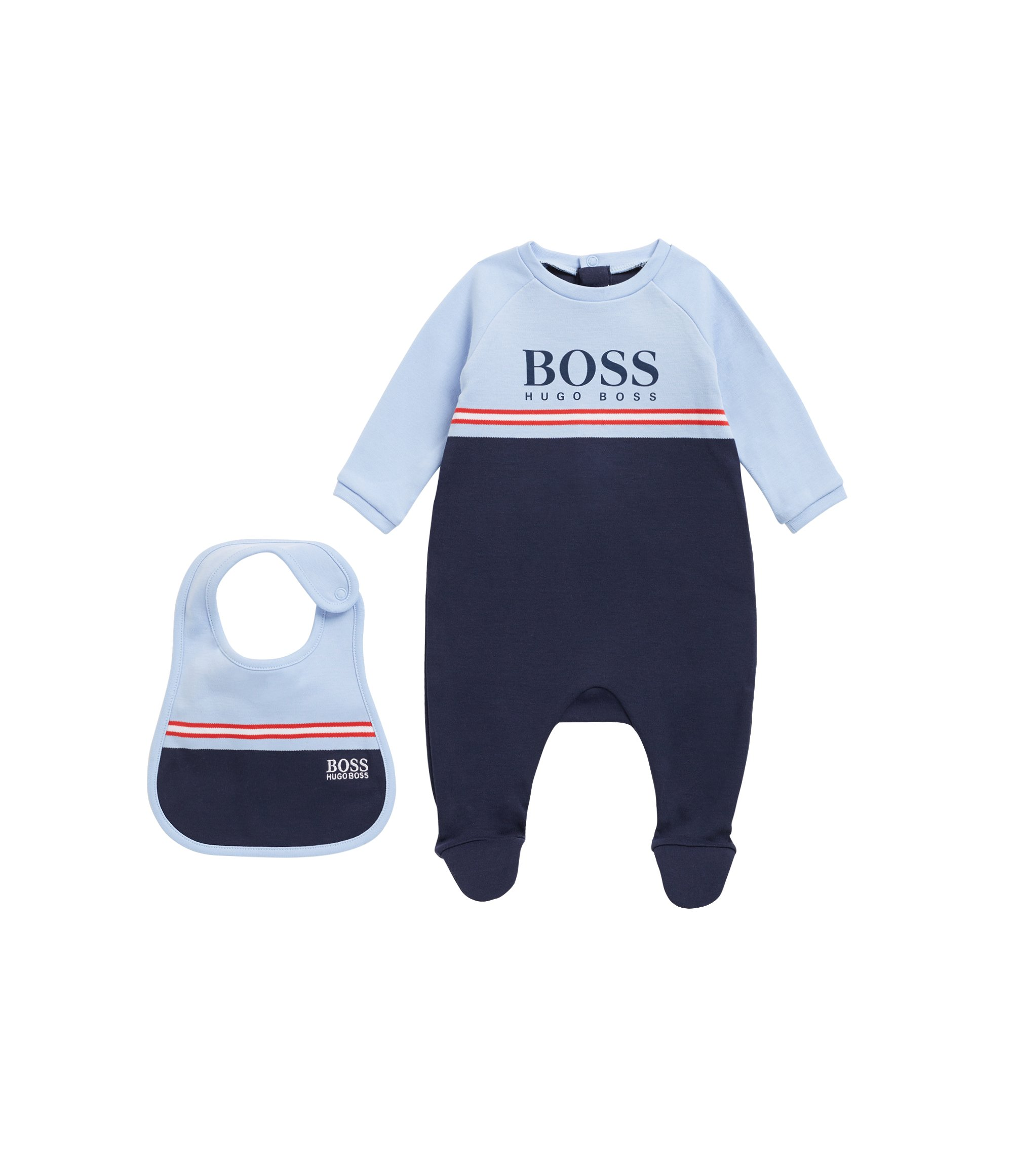 Baby sleepsuit and bib set in interlock cotton, Patterned