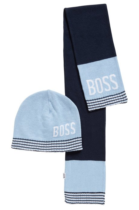 BOSS - Baby scarf and hat set in combed cotton jersey 1d9531c54