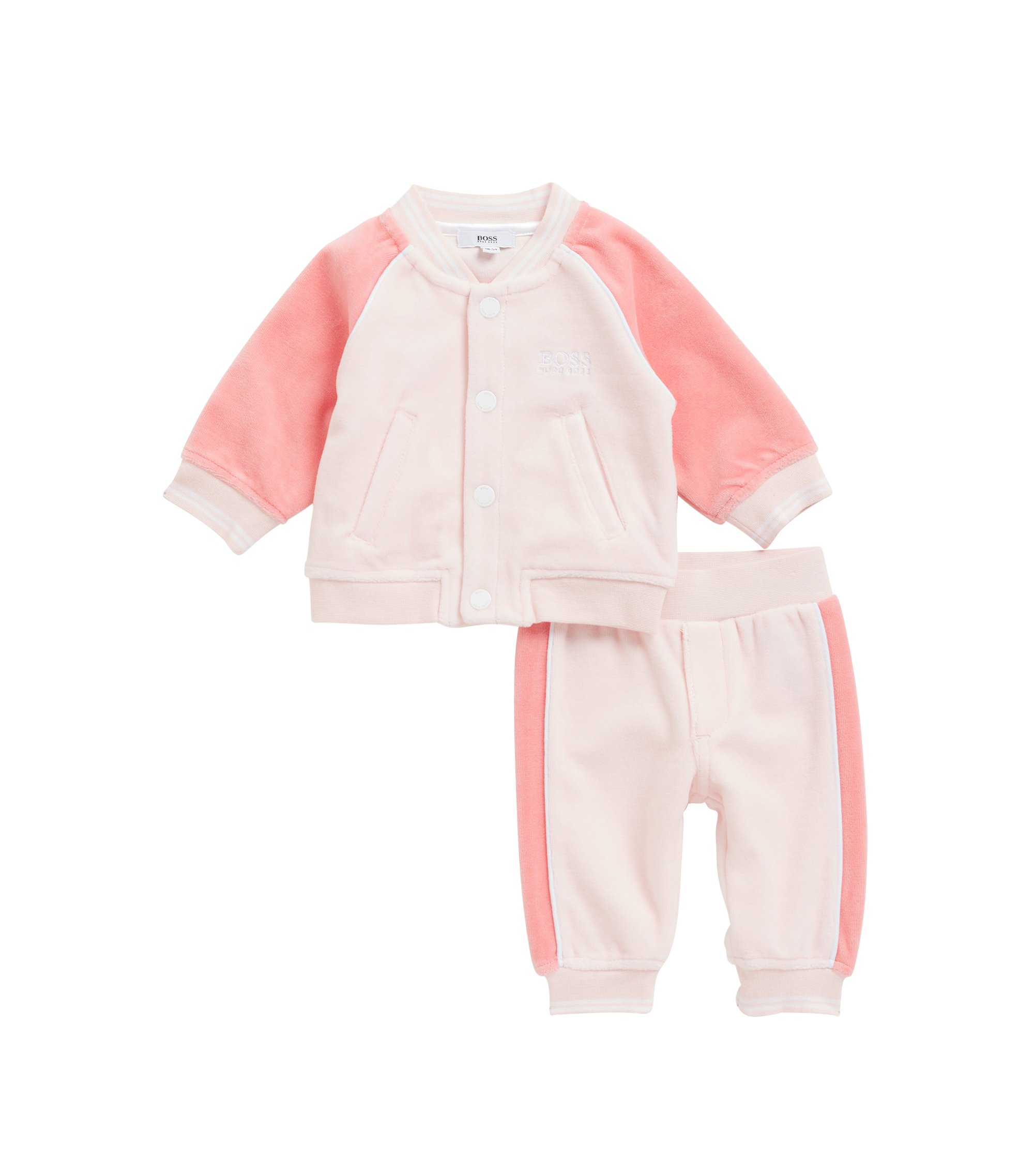 Baby girl tracksuit in cotton-blend velour, light pink