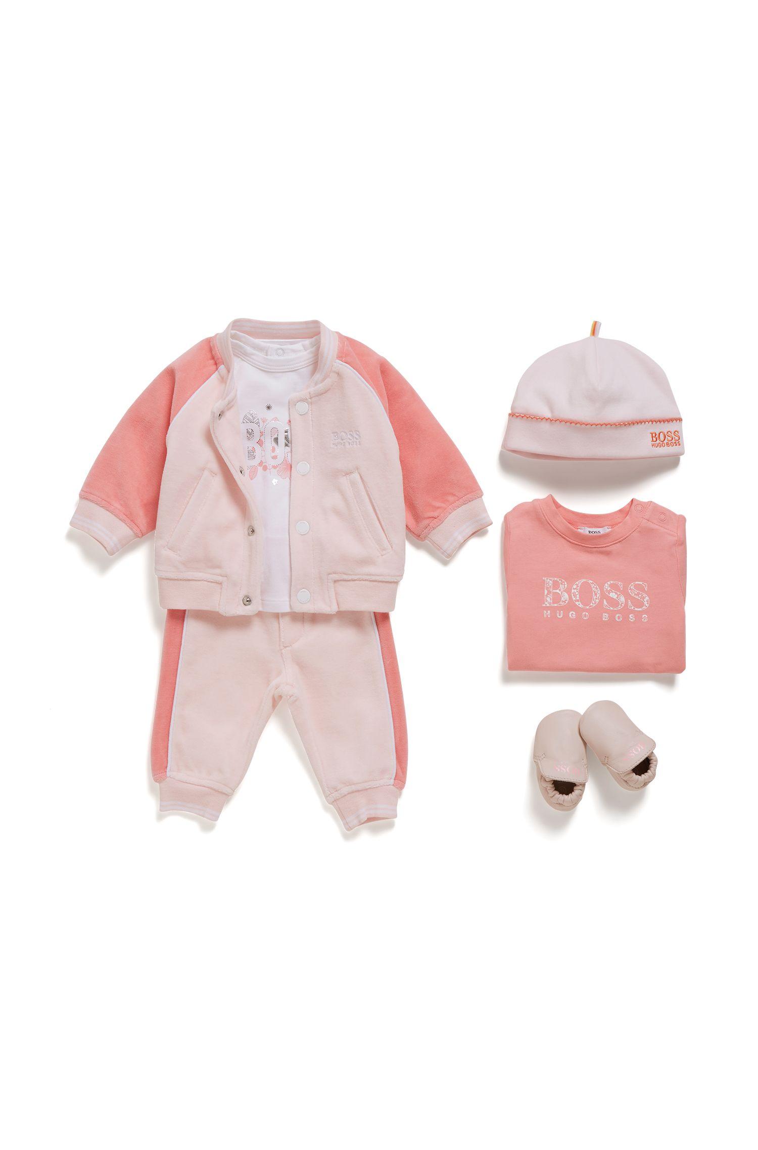 Chándal para bebé niña en velur de mezcla de algodón, Rosa claro