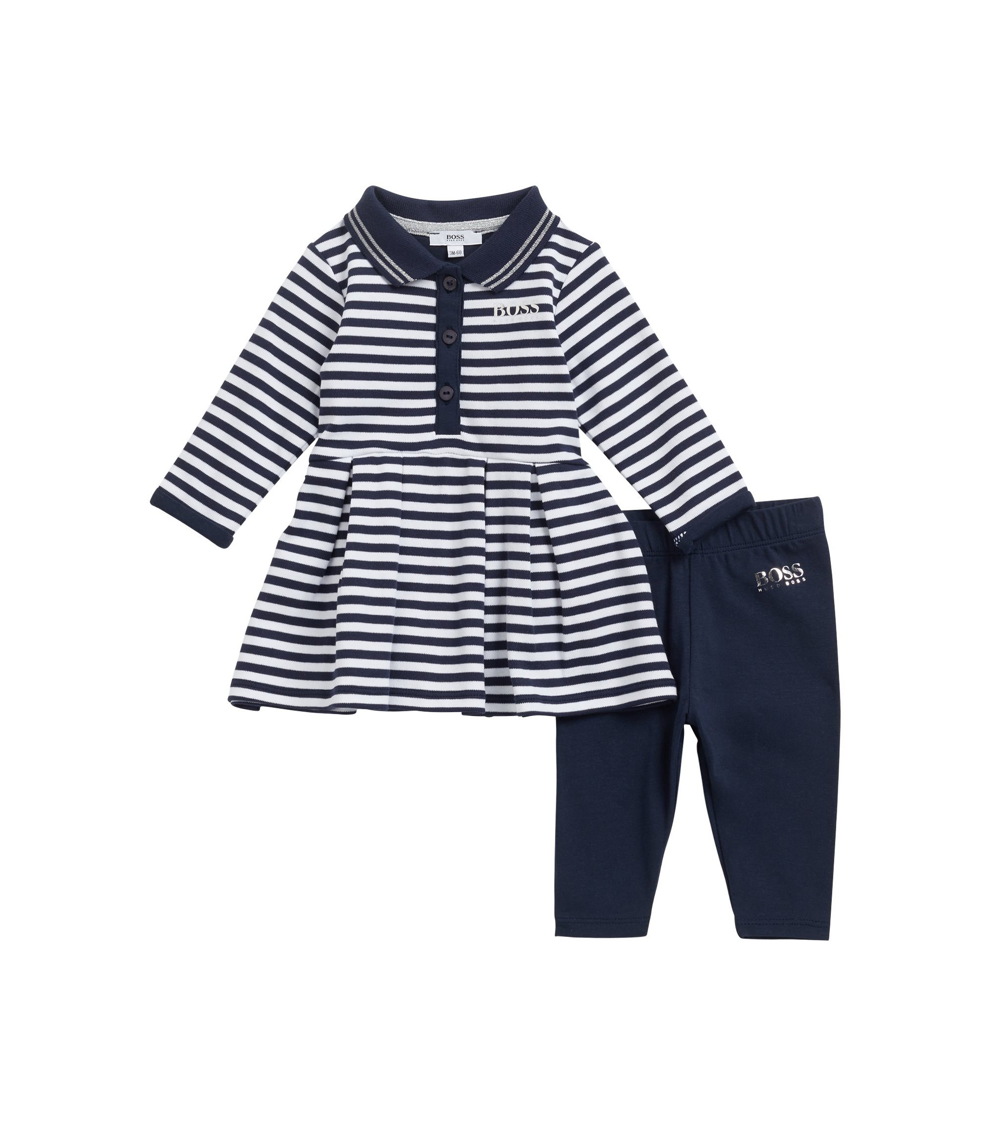 Baby girl striped polo dress and leggings gift set, Dark Blue