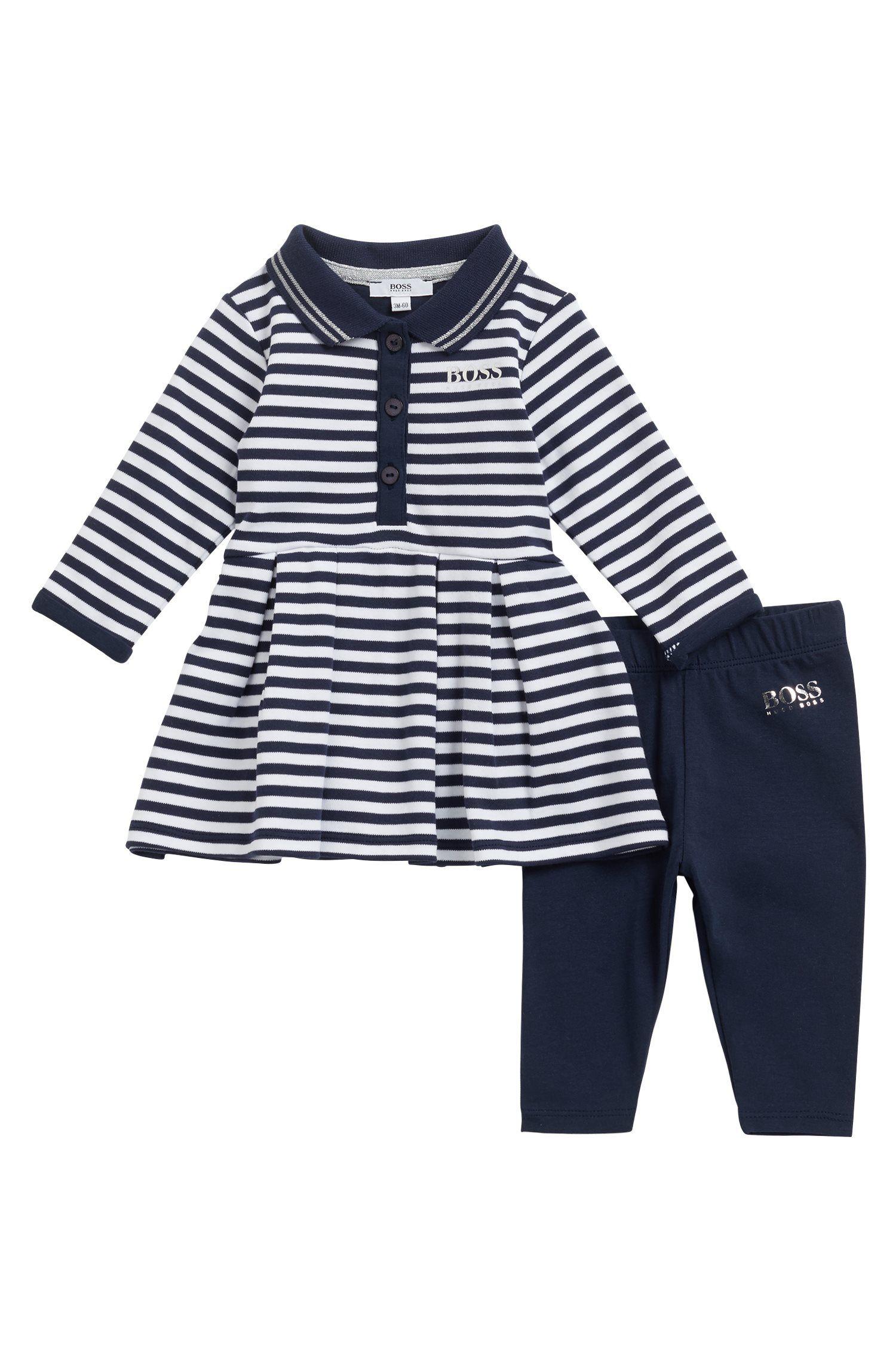 Coffret cadeau pour petite fille comprenant une robe polo à rayures et un legging, Bleu foncé