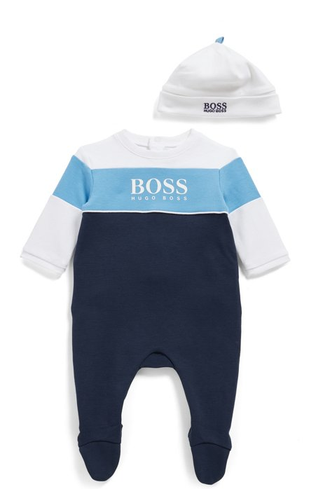 Baby sleepsuit and hat set with logo details, Patterned