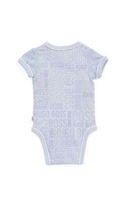 Coffret cadeau pour bébé en coton côtelé, avec body, bavoir et bonnet, Bleu vif