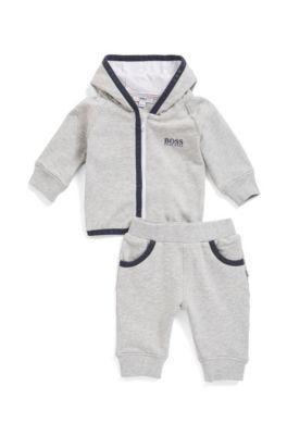 Baby-Jogginganzug aus French Terry mit Kapuze und Kontrast-Details, Hellgrau
