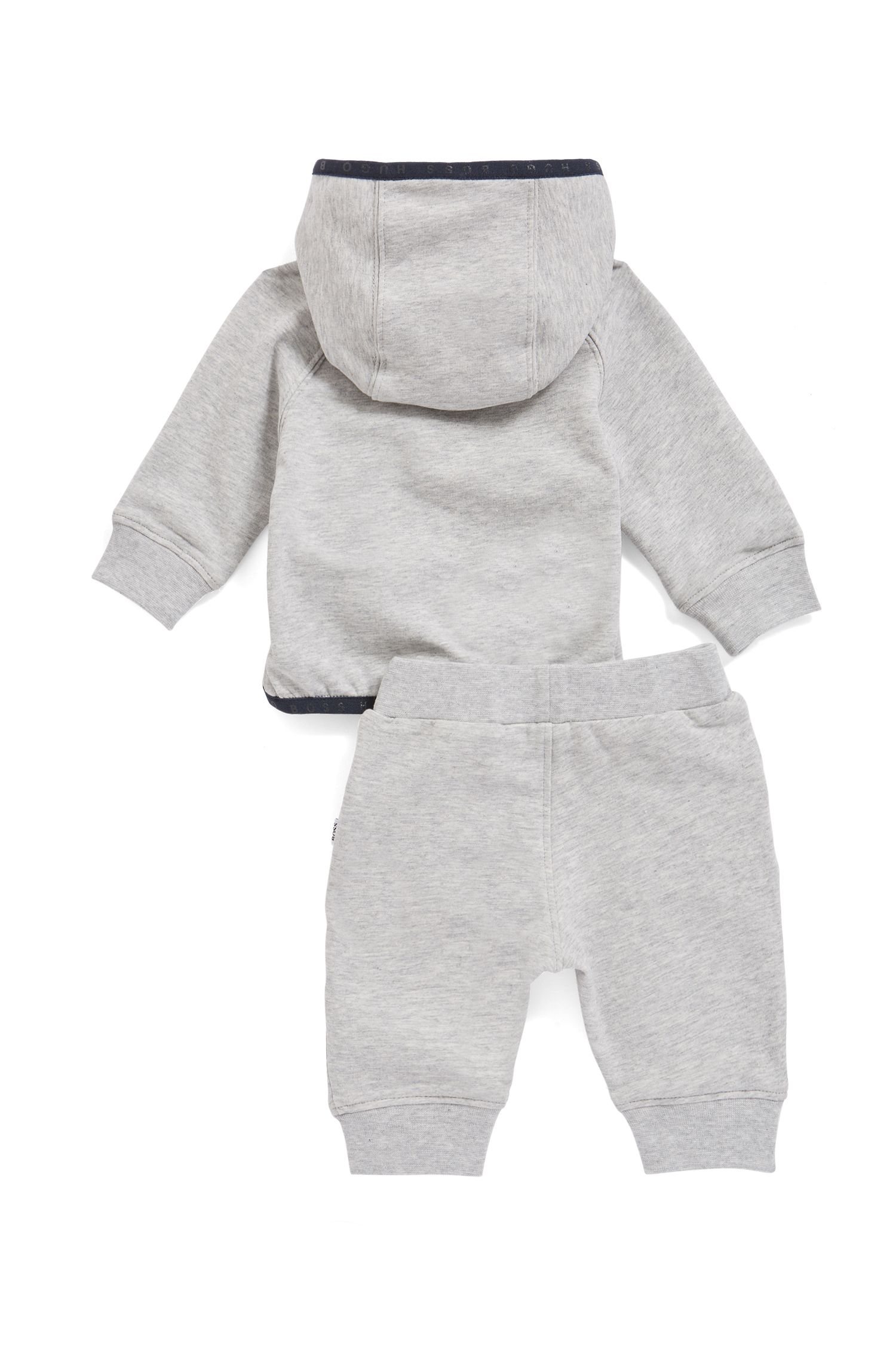 Survêtement à capuche pour bébé en molleton avec finitions contrastantes, Gris chiné
