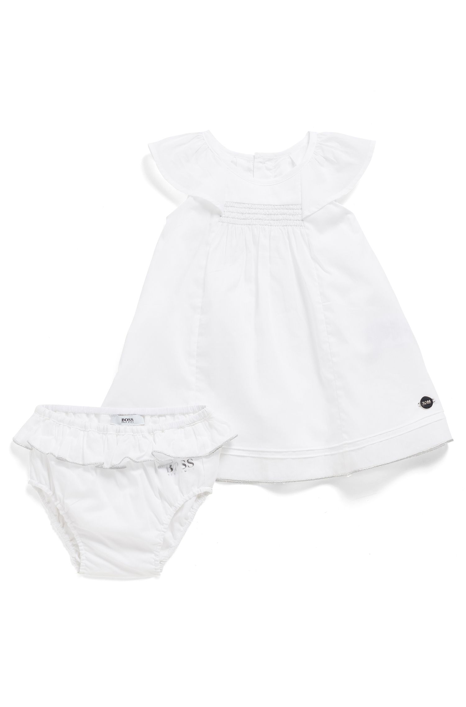 Vestito e culotte da neonata in cotone in confezione regalo, Bianco