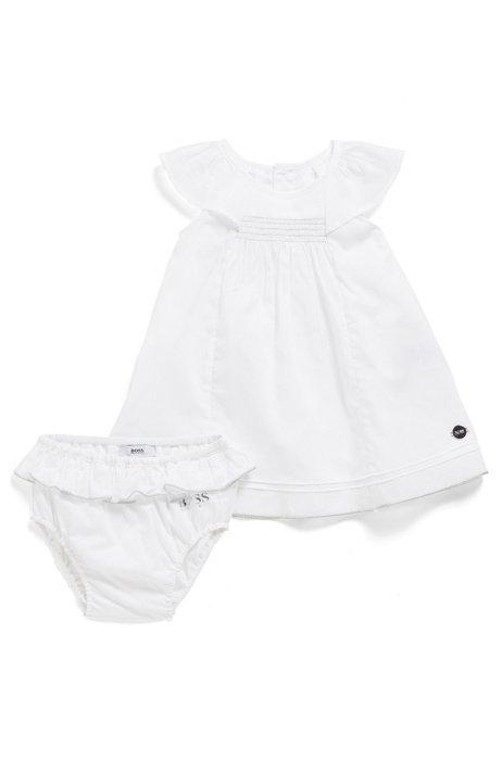 Coffret cadeau robe et bloomer en coton, pour bébé fille, Blanc