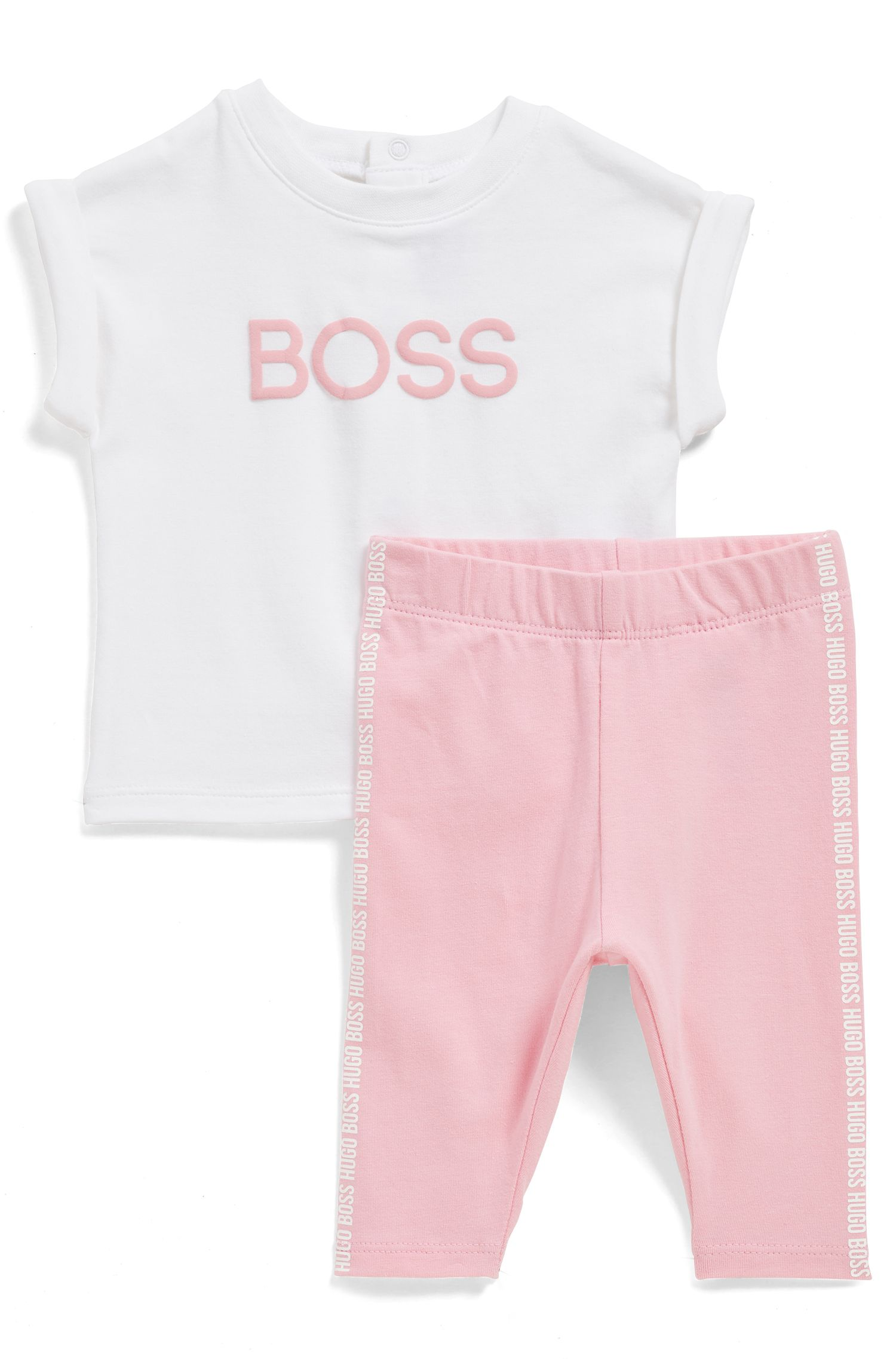 Baby T-shirt and leggings set with puff-ink logo print, Patterned