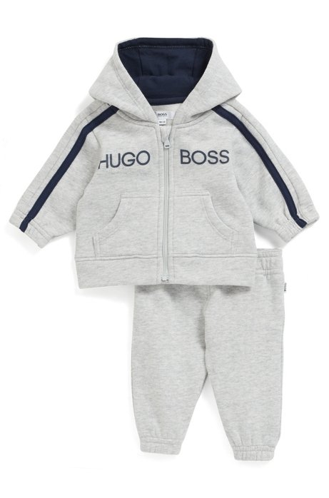 Baby tracksuit in a fleece cotton blend, Light Grey