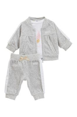 Ensemble trois pièces pour bébé avec survêtement en velours, Gris chiné