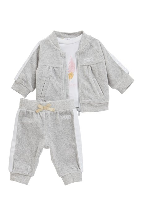 Baby three-piece set with velvet tracksuit, Light Grey