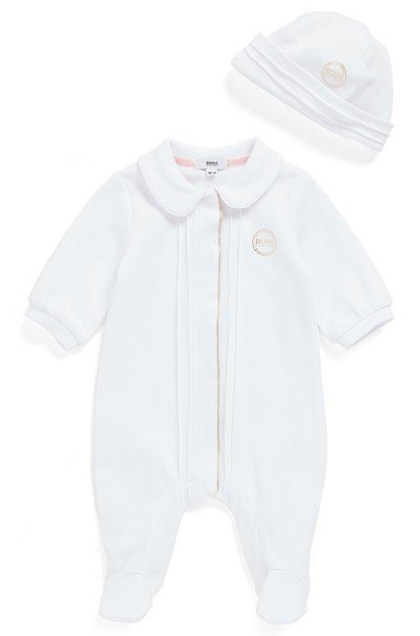 Set con pagliaccetto e cappello per neonato in confezione regalo, Bianco