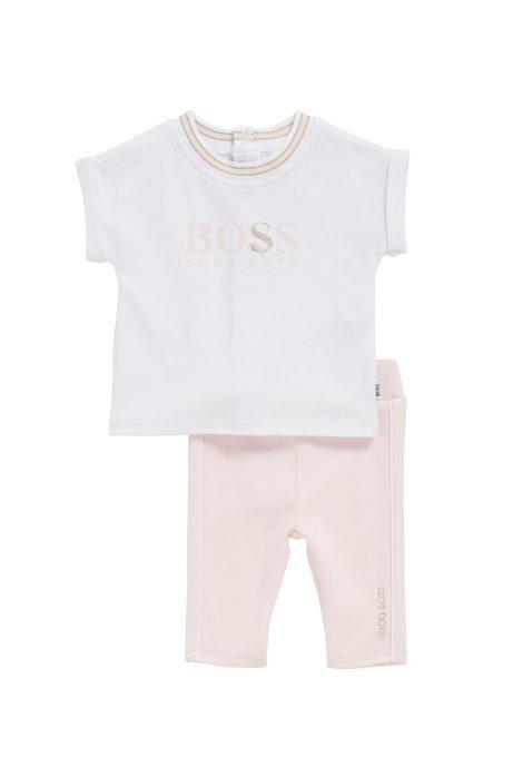 Baby-Set mit Top und Leggings aus Stretch-Baumwolle, Hellrosa