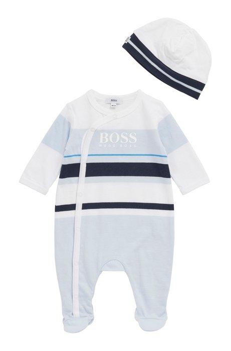 Body da neonato con cappello coordinato in confezione regalo, Celeste