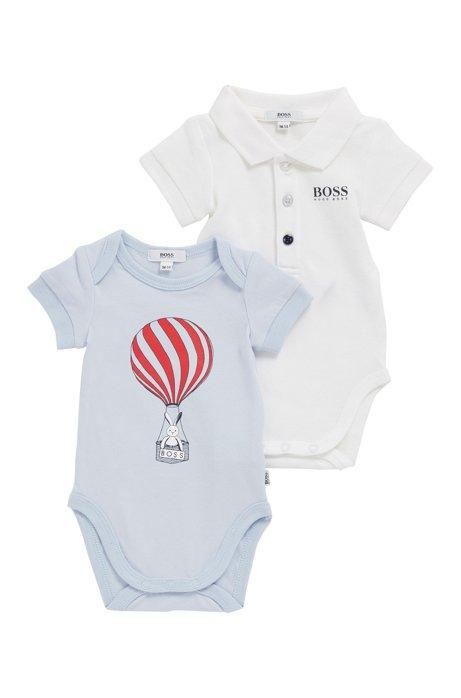 Baby-Bodys aus elastischem Baumwoll-Piqué im Zweier-Pack, Hellblau
