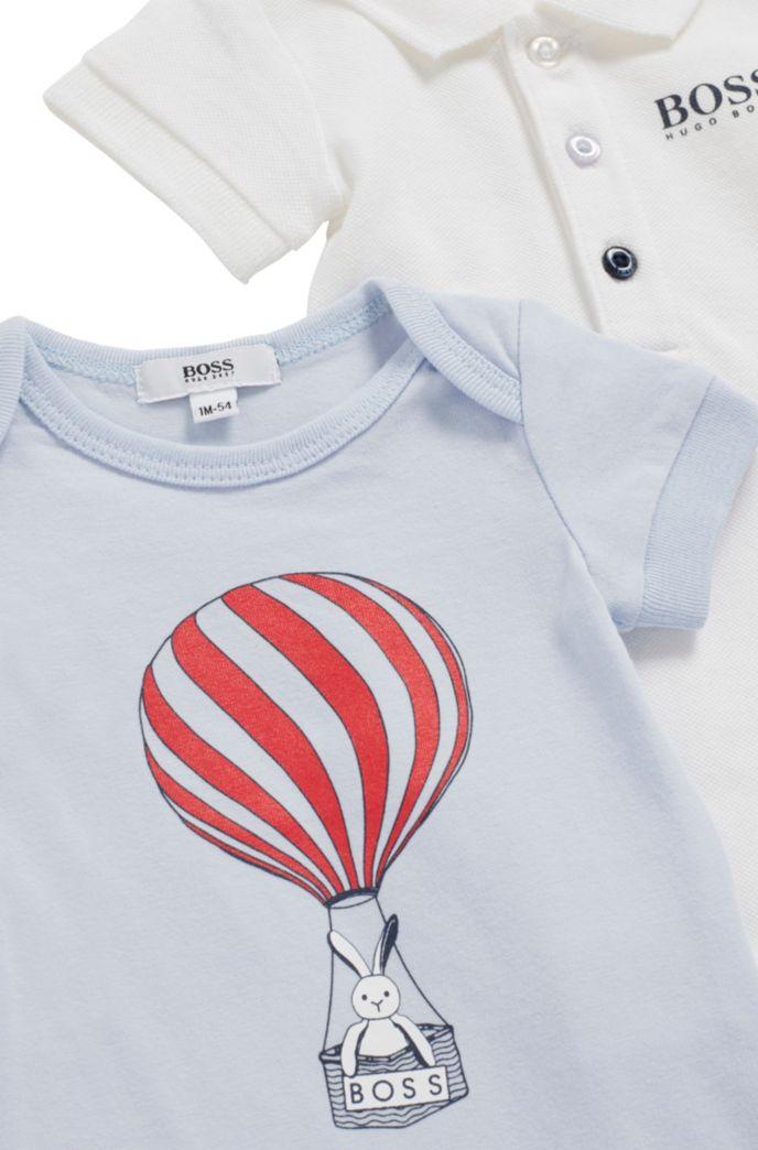 Baby-Bodys aus elastischem Baumwoll-Piqué im Zweier-Pack