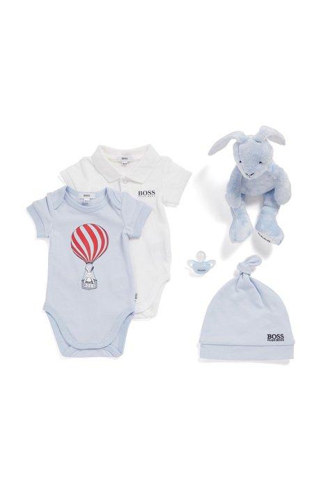 Set van twee babyrompertjes in een piqué van stretchkatoen, Lichtblauw