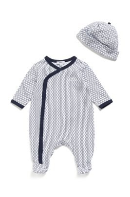 Gift-boxed set of baby monogram sleepsuit and hat, Dark Blue