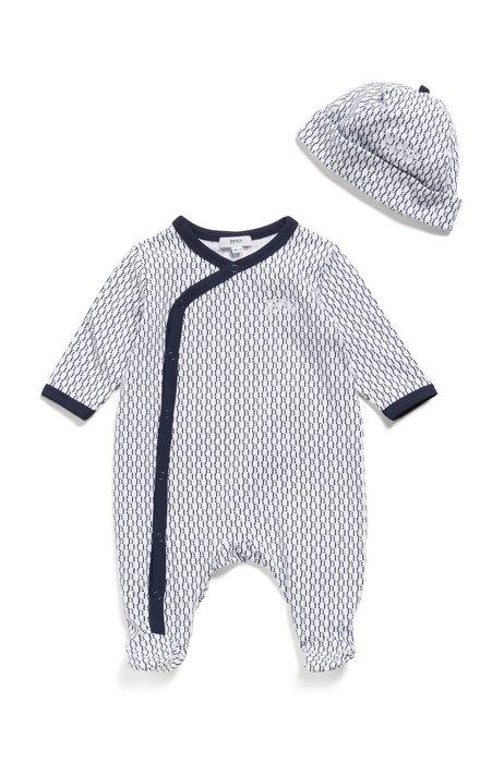 Geschenk-Set aus Baby-Schlafanzug und Mütze mit Monogramm, Dunkelblau