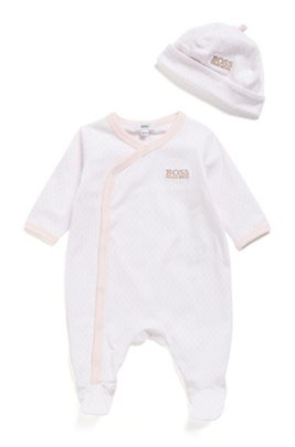 Gift-boxed set of baby monogram sleepsuit and hat, light pink
