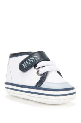 Chaussures pour bébé avec détails en cuir et semelle en cuir: «J99043», Blanc