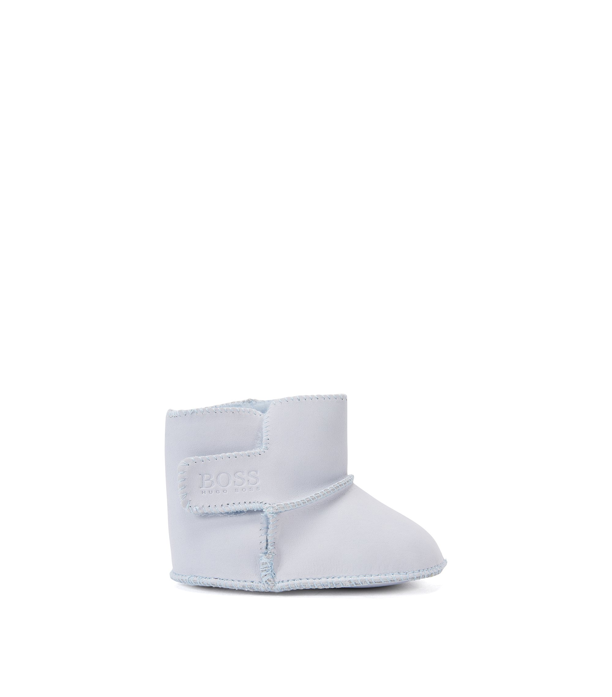 Leather baby booties with touch closure: 'J99048', Light Blue