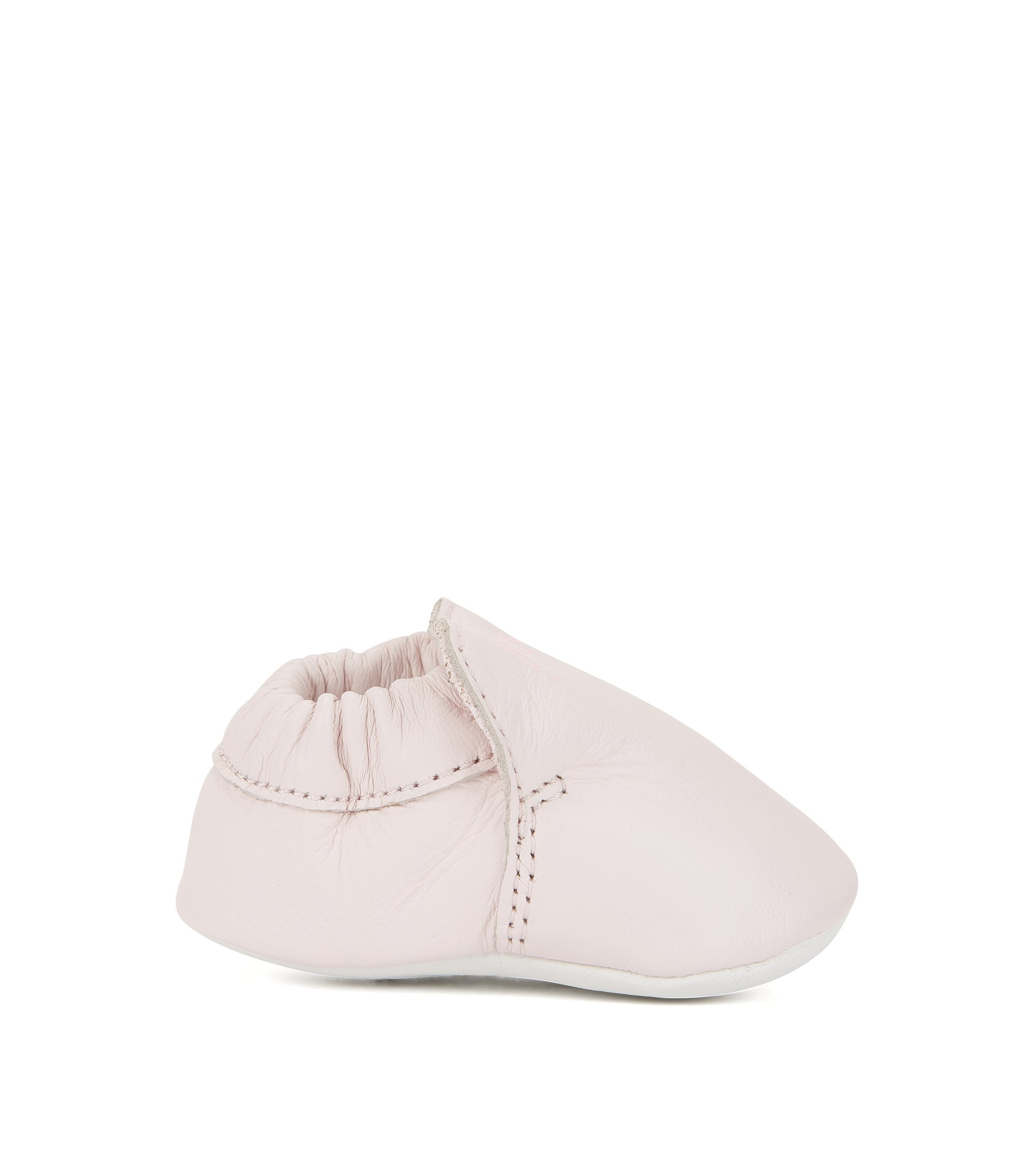 Baby booties in supple leather, light pink
