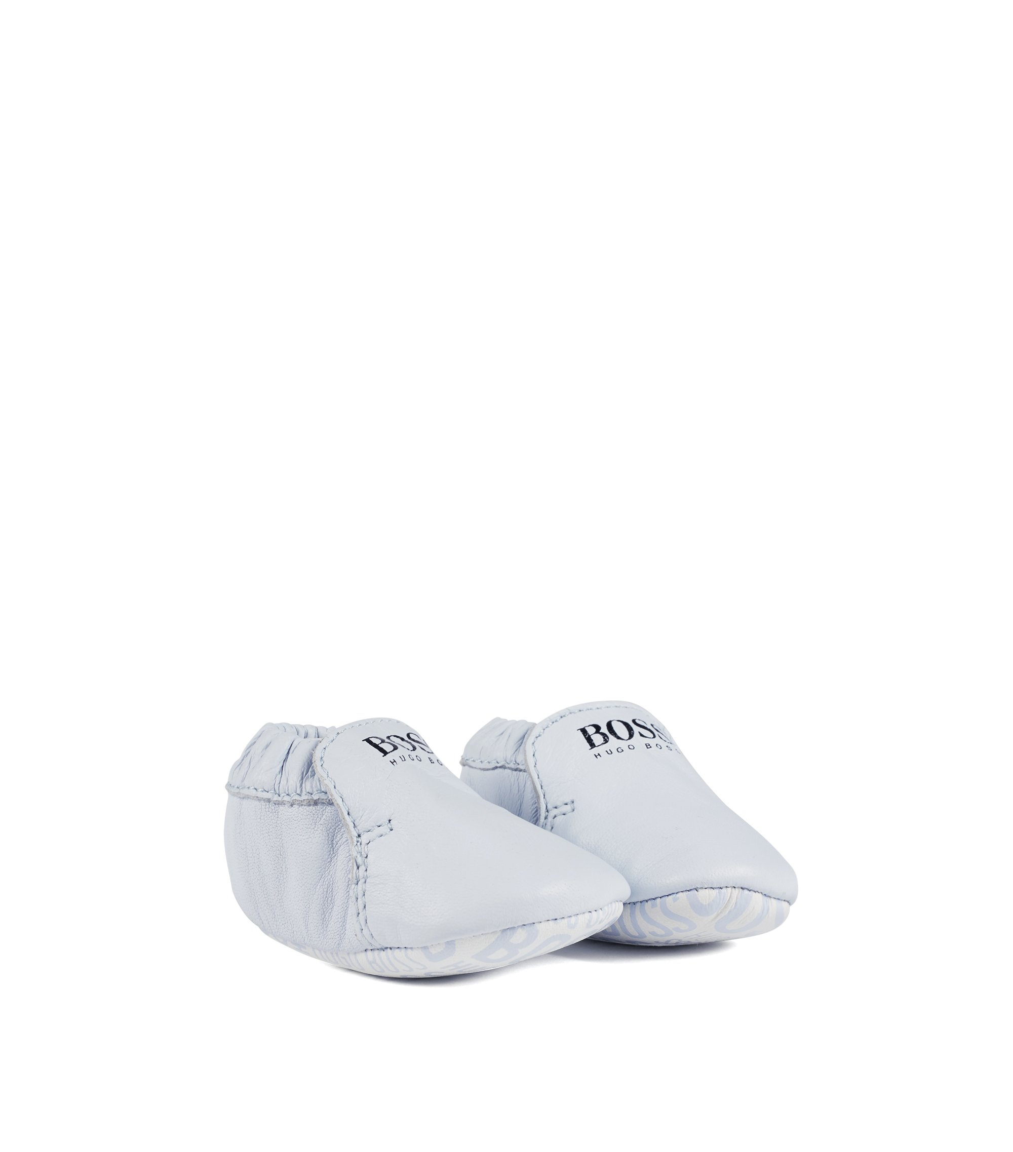Baby booties in real leather with logo detailing, Light Blue